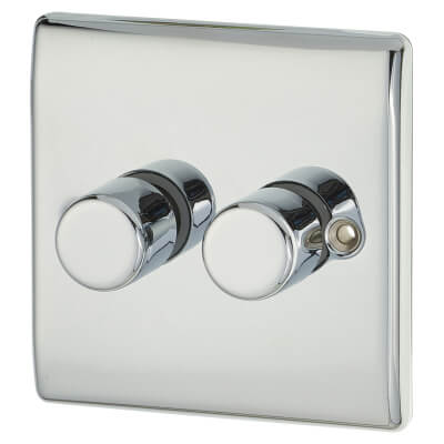 BG 400W 2 Gang 2 Way LED Push Dimmer Switch - Polished Chrome)