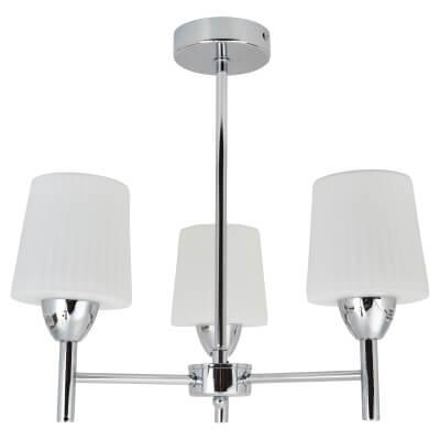Aquarius 3 x 28W G9 Bathroom Ceiling Light - Chrome/Opal)