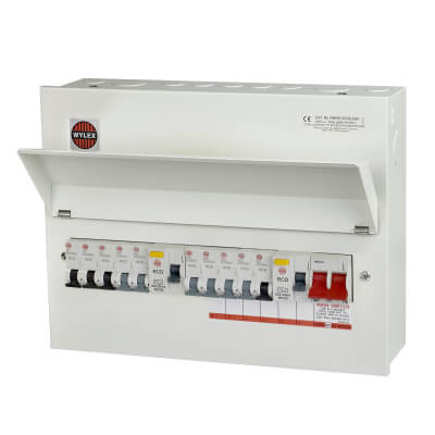 Wylex 80A 10 Way Dual Split Load High Integrity Metal Consumer Unit with 10 MCBs - Fully Loaded)