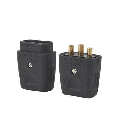 MK Duraplug 10A 3 Pin Inline Connector - Black)