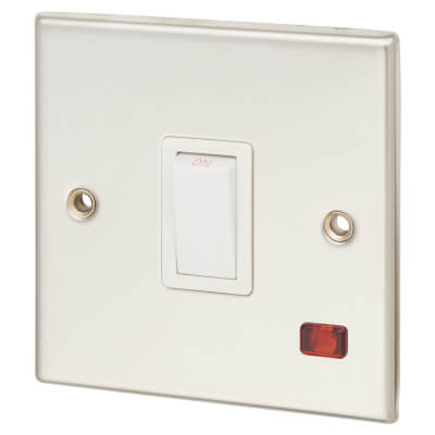 Contactum 20A 1 Gang Double Pole Control Switch with Neon - Polished Steel with White Insert)