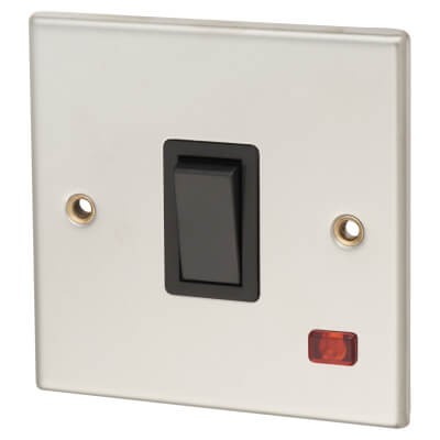 Contactum 20A 1 Gang Double Pole Control Switch with Neon - Polished Steel with Black Insert