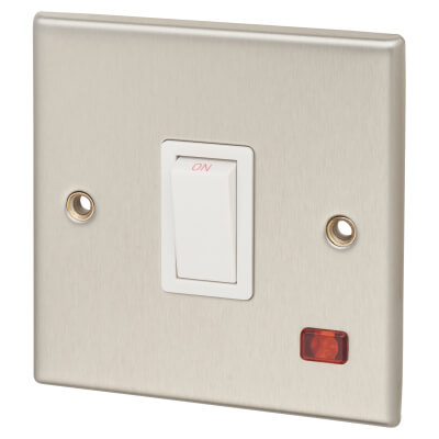 Contactum 20A 1 Gang Double Pole Control Switch with Neon - Brushed Steel with White Insert