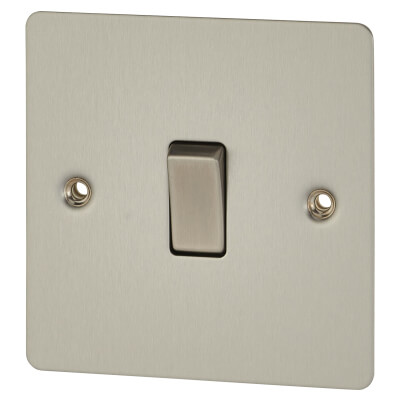 BG 10A 1 Gang Single Pole 2 Way Flat Plate Switch - Brushed Steel