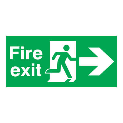 Fire Exit - Running Man with Arrow - Right - 150 x 450mm)