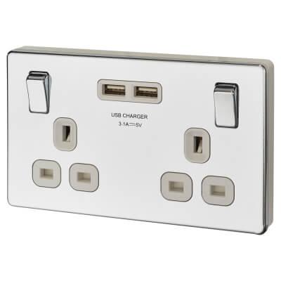 BG 13A Screwless Flatplate Socket with 2 x USB - 3.1A - Polished Chrome with White Insert)