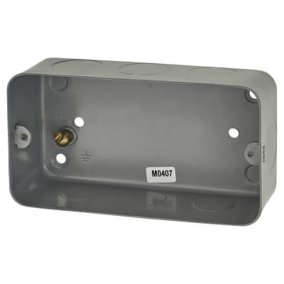 MK 2 Gang Grid Switch Flush Back Box - 40mm - Grey)