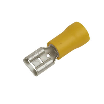 Crimp Insulator Spade - 6.3mm - Yellow - Pack 50)