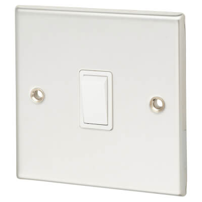 Contactum 10A 1 Gang 2 Way Plate Switch - Polished Steel with White Insert