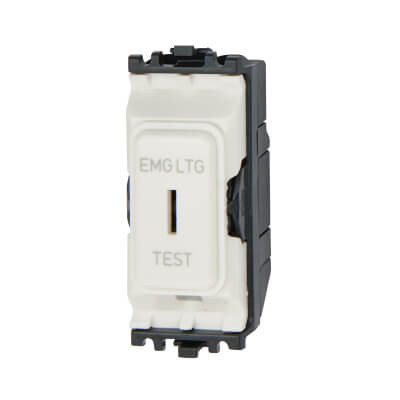 MK 20A 1 Way Single Pole Emergency Lighting Key Grid Switch - White)