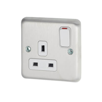 MK 13A 1 Gang Switched Socket - Brushed Stainless Steel)