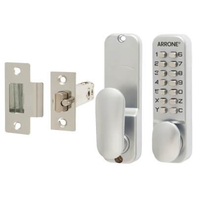 Arrone® Mechanical Code Lock - Holdback Option - Satin Chrome Plated