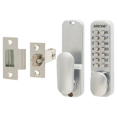 Arrone® Mechanical Code Lock - Holdback Option - Satin Chrome Plated)