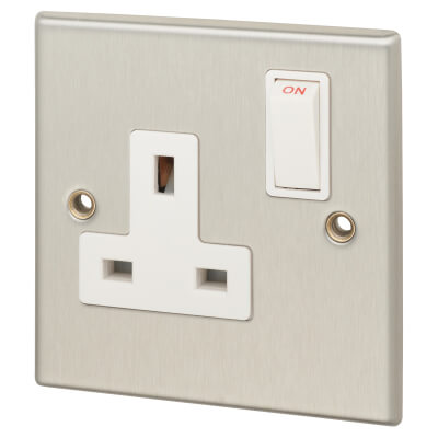 Contactum 13A 1 Gang Switched Socket - Brushed Steel with White Insert)