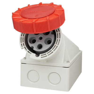 63A 3 Pin, Neutral & Earth Surface Socket - Red)