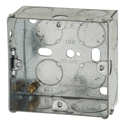 1 Gang Back Box with Knock Out - 35mm - Galvanised
