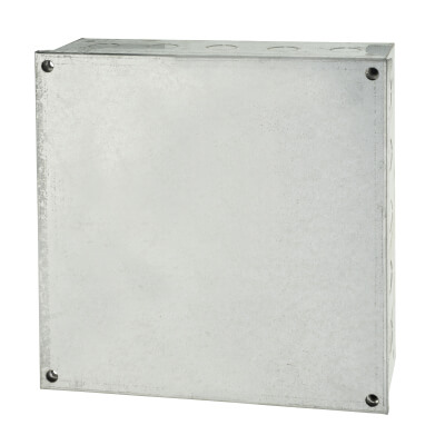 Adaptable Back Box with Knockouts - 9 x 9 x 3 Inch - Galvanised)