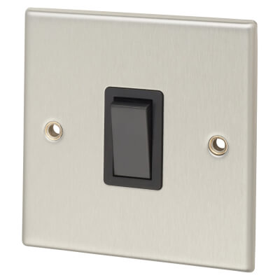Contactum 20A 1 Gang Double Pole Control Switch - Brushed Steel with Black Insert