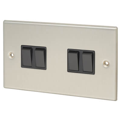 Contactum 10A 4 Gang 2 Way Plate Switch - Brushed Steel with Black Insert