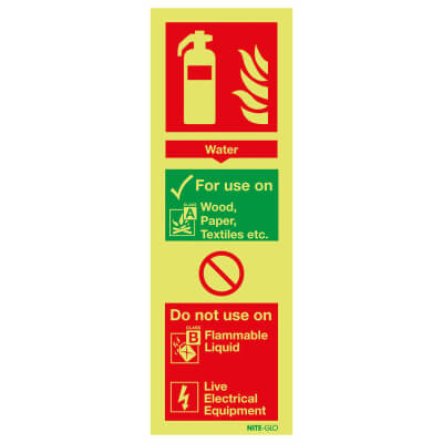 NITE GLO Fire Extinguisher Sign - Water - 300 x 100mm - Rigid Plastic)