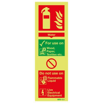 NITE GLO Fire Extinguisher Sign - Water - 300 x 100mm - Rigid Plastic)
