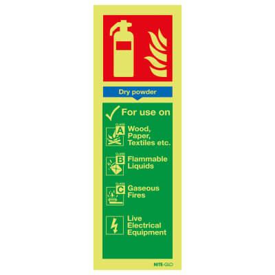 NITE GLO Fire Extinguisher Signs - Dry Powder - 300 x 100mm - Rigid Plastic)