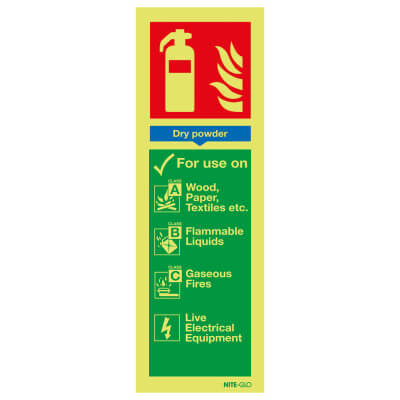NITE GLO Fire Extinguisher Signs - Dry Powder - 300 x 100mm - Rigid Plastic)