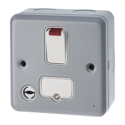 MK 13A 1 Gang Double Pole Metalclad Fused Switch with Flex Outlet and Neon - Grey)