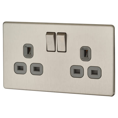 BG 13A 2 Gang Screwless Flatplate Switched Socket - Brushed Steel with Grey Insert)
