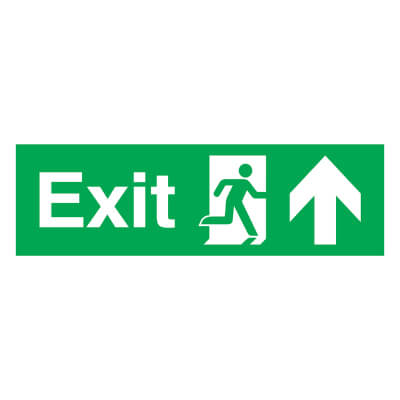 Exit Running Man with Arrow - Down - 150 x 450mm
