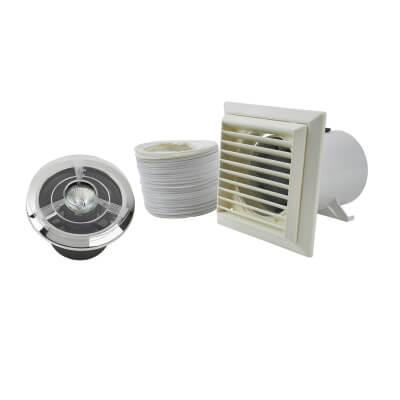 Silavent SPV802ETWCG 4 Inch Showerlite Bathroom Timer Extractor Fan Kit
