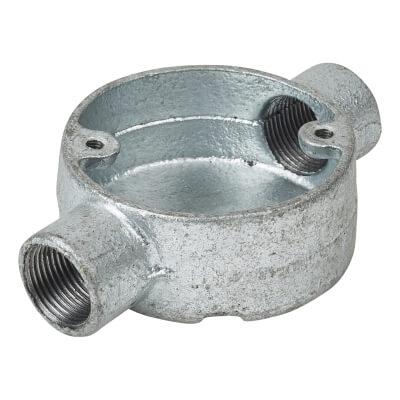 Steel Conduit Through Box - 20mm - Galvanised)