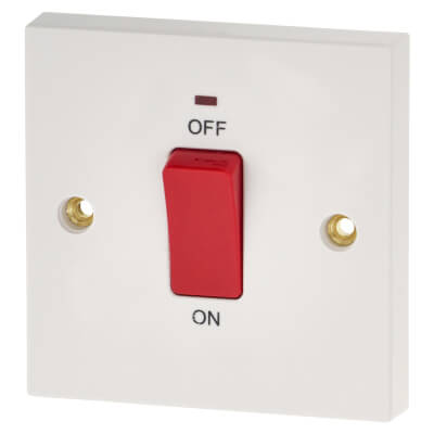 BG 45A 1 Gang Double Pole Switch with Neon - White