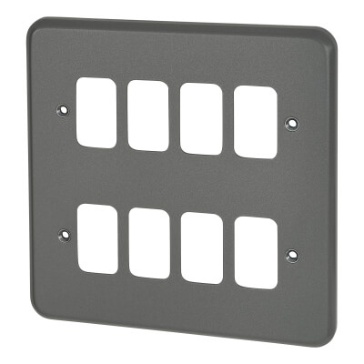 MK 8 Gang Grid Cover Plate Metalclad - Grey