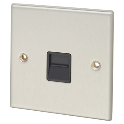 Contactum Secondary Telephone Socket - Brushed Steel with Black Insert