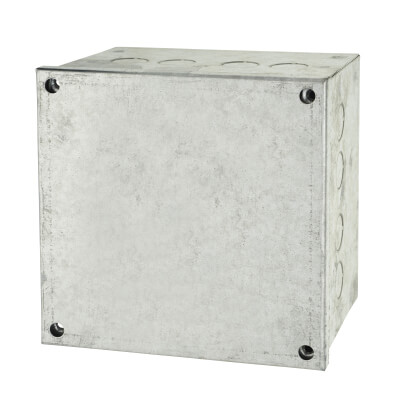 Adaptable Back Box with Knockouts - 102mm - Galvanised)