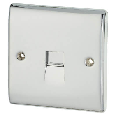 BG 1 Gang Secondary/Slave Telephone Outlet - Polished Chrome