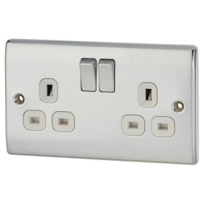 BG 13A 2 Gang Flat Plate Switched Socket - Polished Chrome)