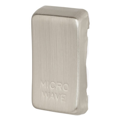 BG Printed Switch Module Cover - Microwave - Brushed Steel