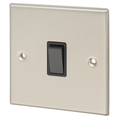 Contactum 10A 1 Gang 2 Way Plate Switch - Brushed Steel with Black Insert