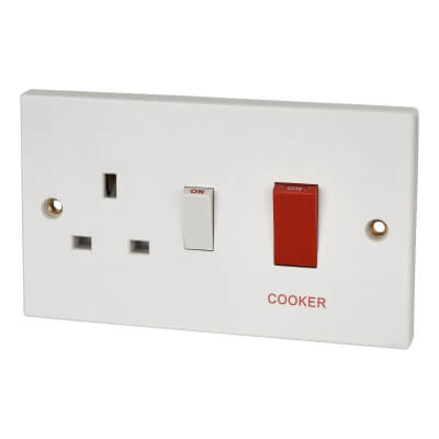 Contactum 45A 2 Gang Double Pole Cooker Switched Socket - White)