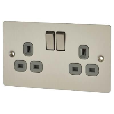 BG Flat Plate 13A 2 Gang Switched Socket - Brushed Steel)