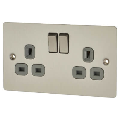 BG Flat Plate 13A 2 Gang Switched Socket - Brushed Steel)