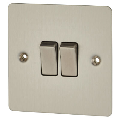BG 10A 2 Gang Single Pole 2 Way Flat Plate Switch - Brushed Steel