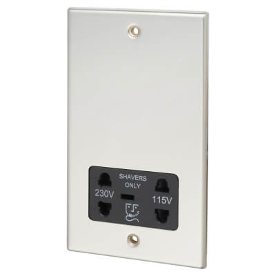 Contactum 230/115V Shaver Socket - Polished Steel with Black Insert