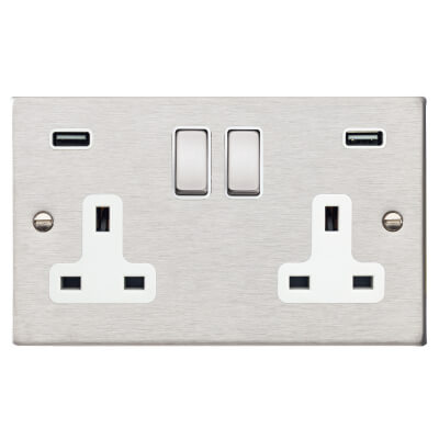 Hamilton 13A 2 Gang Switched Socket x 2 USBs - 3.1A - Satin Stainless with White Inserts)