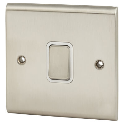 Deta 20A Slimline 1 Gang Double Pole Switch - Satin Chrome