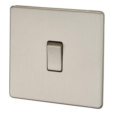 BG 10A 1 Gang 2 Way Screwless Flatplate Light Switch - Brushed Steel)