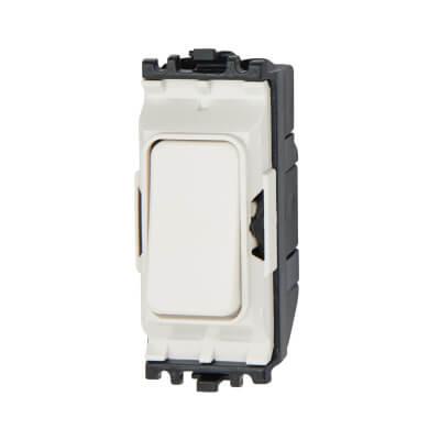 MK 10A 2 Way Single Pole Retractive Switch Module - White)