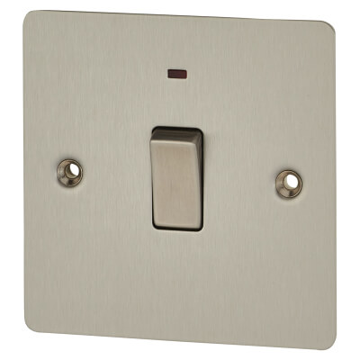 BG 20A 1 Gang Flat Plate Double Pole Switch - Brushed Steel